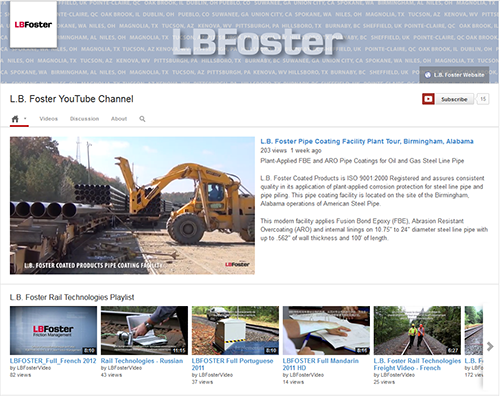 L.B. Foster Branded YouTube Channel